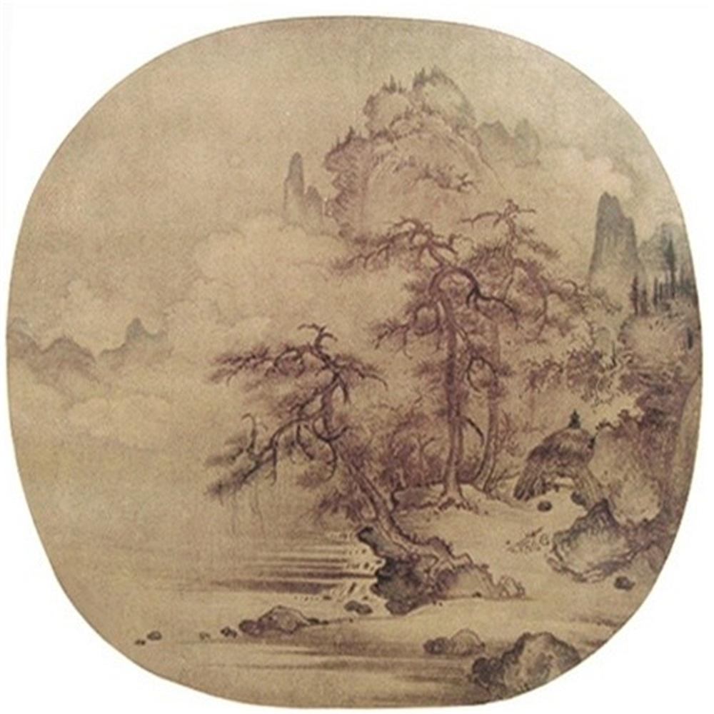 柳塘泛月图