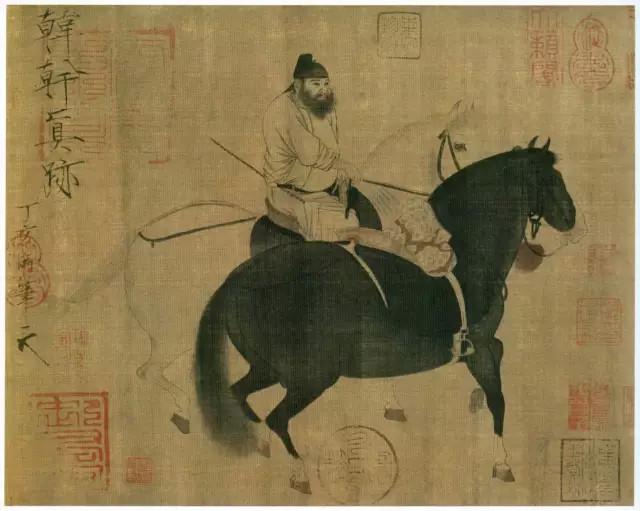 唐 韩幹 牧马图 绢本浅设色 27.5×34.1厘米 台北故宫博物院藏