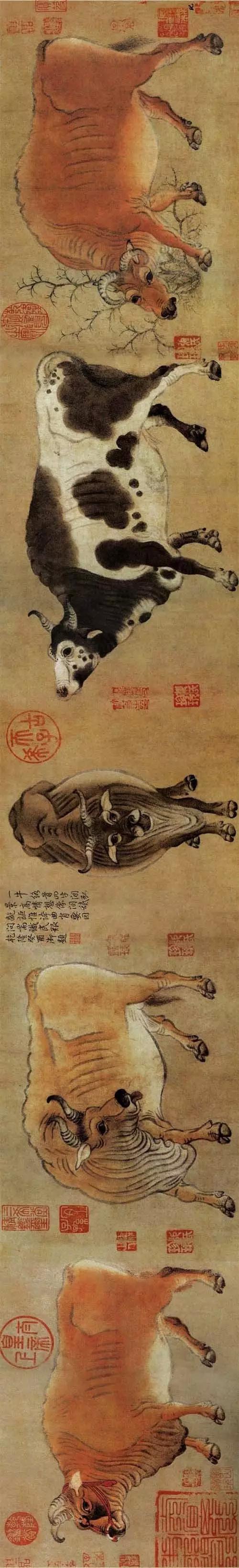 唐 韩滉 五牛图卷 纸本设色 20.8×139.8cm 故宫博物院藏