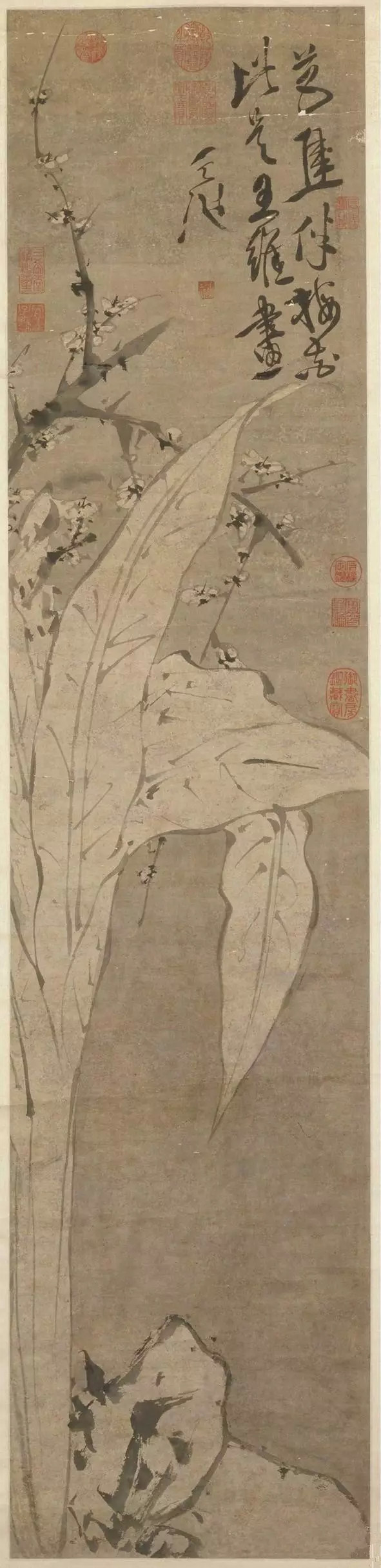 徐渭 梅花蕉叶图 纸本墨笔 133.7×30.4cm 北京故宫博物院藏