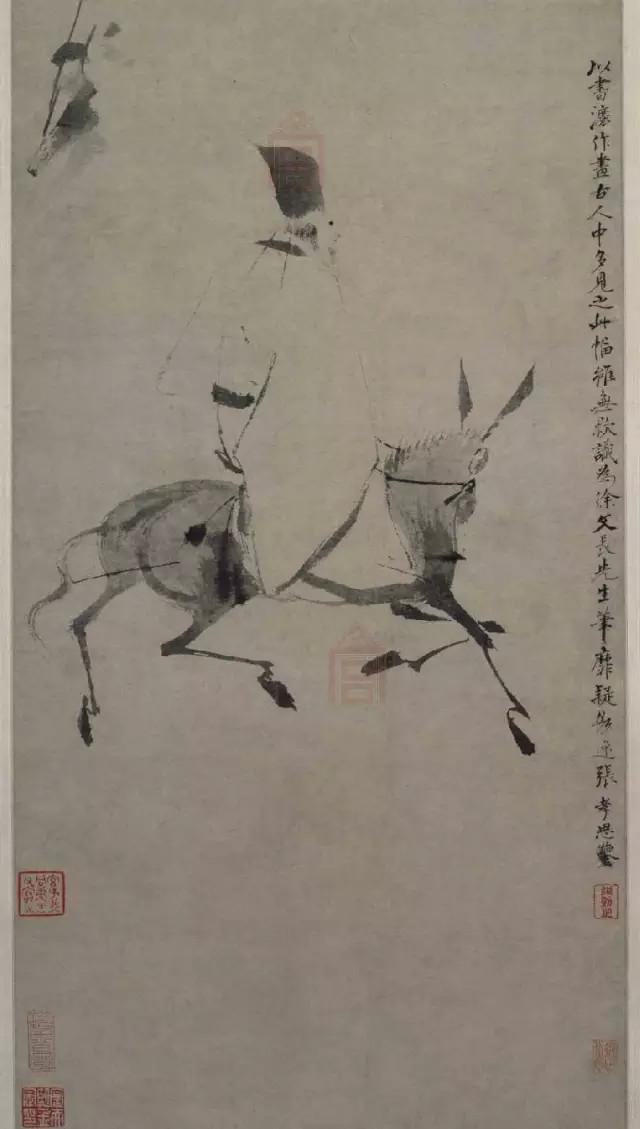 徐渭 驴背吟诗图 纸本水墨 112.2×30cm 北京故宫博物院藏