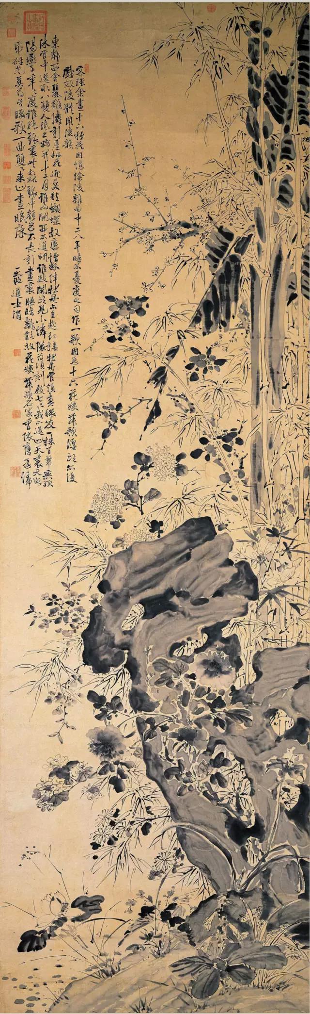 徐渭 花竹图 纸本水墨 337.6×103.5cm 北京故宫博物院藏