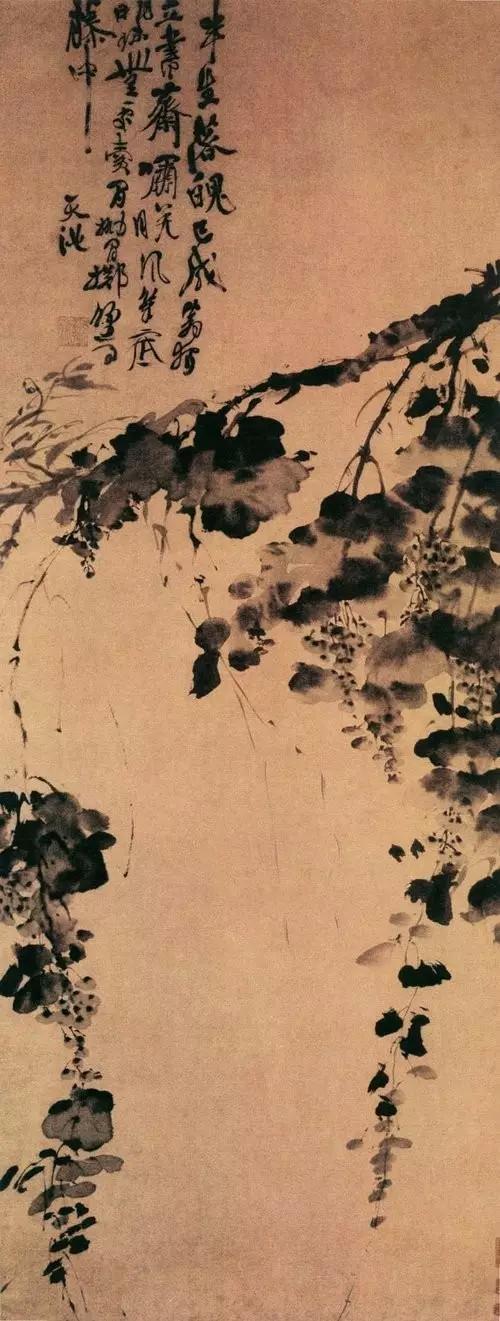 徐渭 墨葡萄图 纸本水墨 116.4c×64.3cm 北京故宫博物院藏
