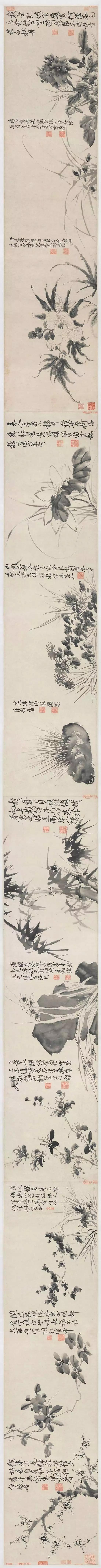 徐渭 十二墨花诗画图卷 纸本水墨 32.8×544cm 美国弗利尔美术馆藏