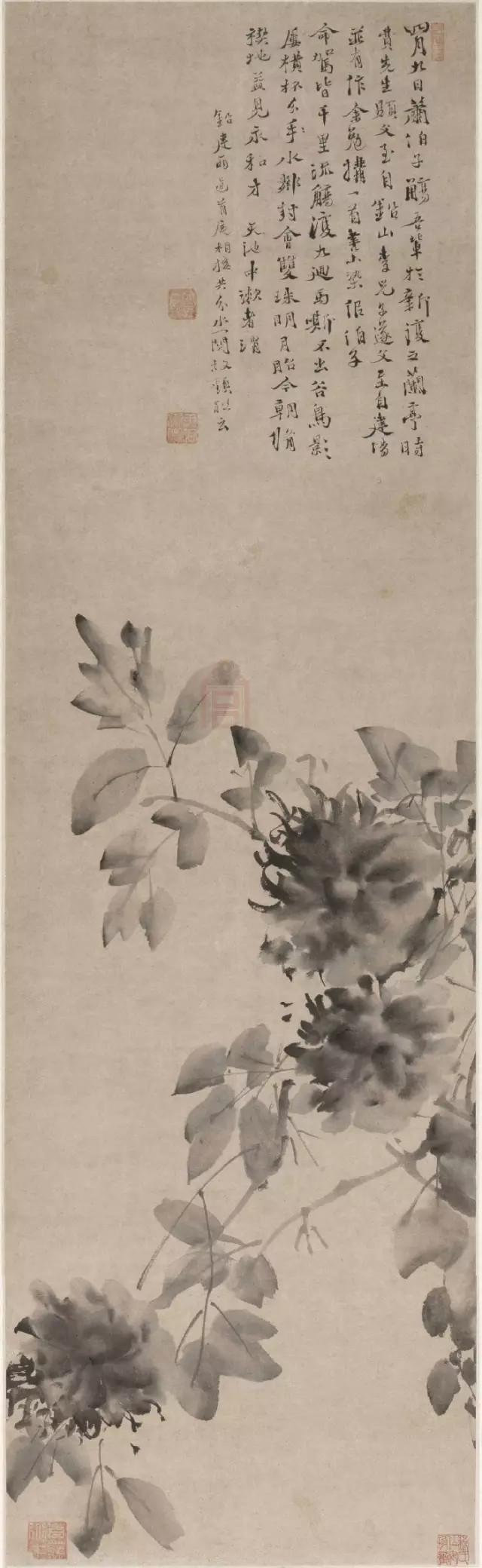 徐渭 水墨牡丹图 纸本墨笔 109.2×33cm故宫博物院藏