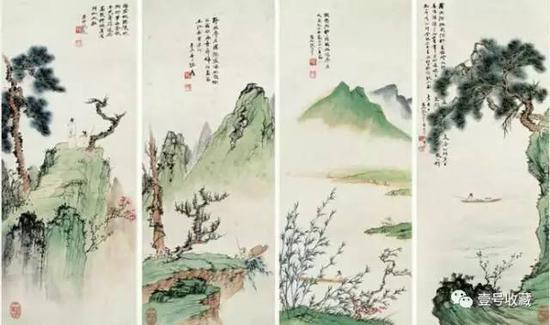 张大千山水四屏 1931年作