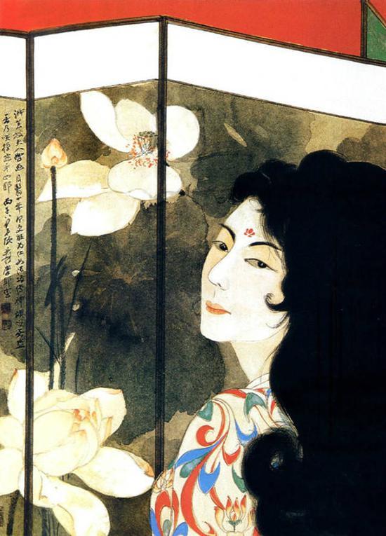 张大千 荷花屏风美女 1966年