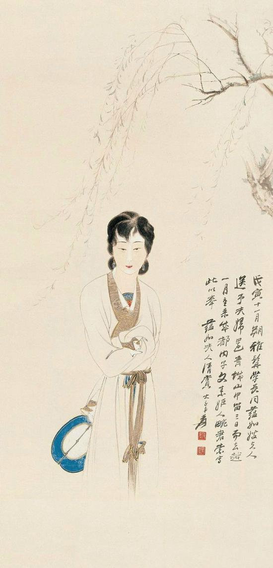 张大千 执扇仕女 1938年