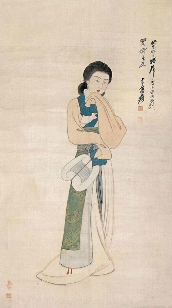 张大千 执扇仕女 1943年