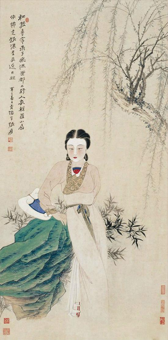 张大千 柳荫仕女 1941年