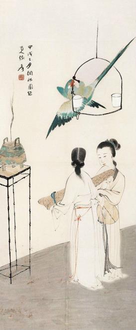 张大千 调鹦图 1934年
