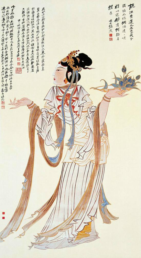 张大千 散花女 1938年