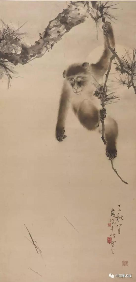 松猿图  高奇峰   国画  1917年  广东省博物馆藏