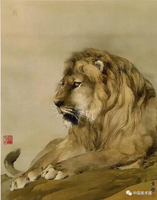 狮  何香凝  纸本设色  1914  何香凝美术馆藏