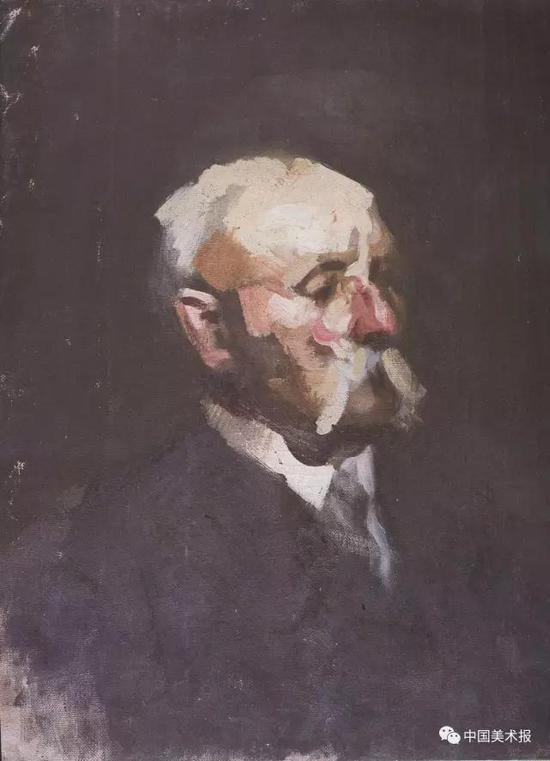 未完成的老人像  李铁夫  油画  1930年  广州美术学院美术馆藏