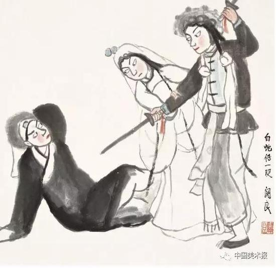 白蛇传 关良  中国画 67.5×70cm  1956年  中国美术馆藏