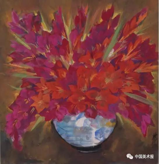 菖兰 林风眠  中国画  69×66cm  1961年  上海美术家协会藏