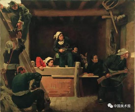 地道战  罗工柳  油画  144×169cm 1951年  中国国家博物馆藏