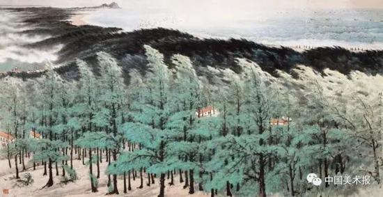 绿色长城  关山月  中国画 144.5×251cm  1973年  中国美术馆藏
