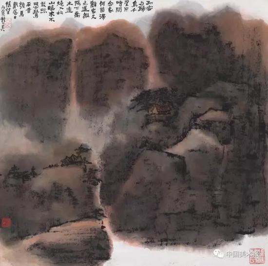 孤云与归鸟 赖少其  中国画  68×68cm  1986年  广州艺术博物院藏