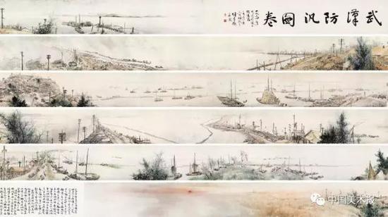 武汉防汛图  黎雄才  中国画  30.5×3200cm  1956年  中国美术馆藏