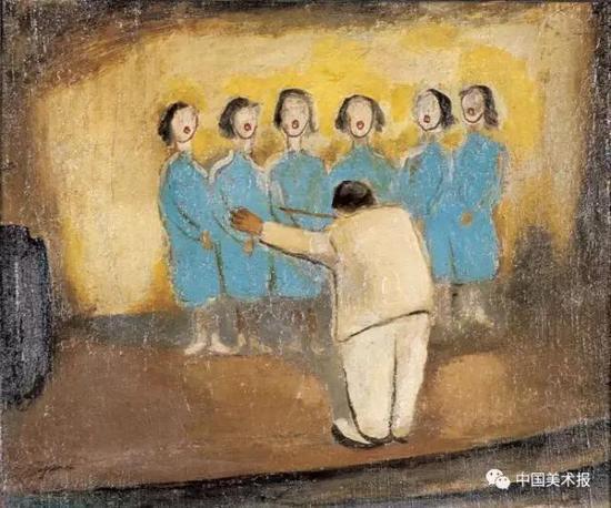 合唱 谭华牧  油画  46×55cm  20世纪40年代  广东美术馆藏