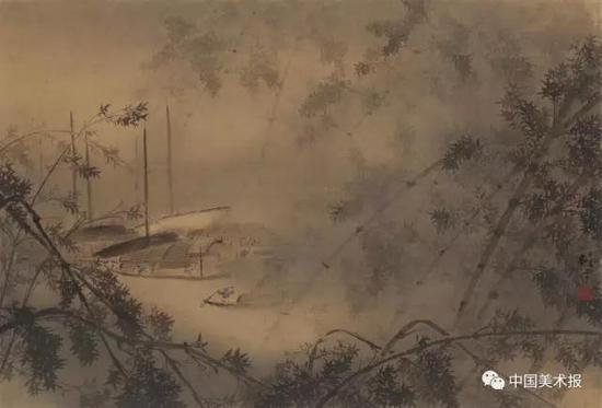 潇湘夜雨 黎雄才  中国画  45×65cm  1932年  黎雄才艺术馆藏