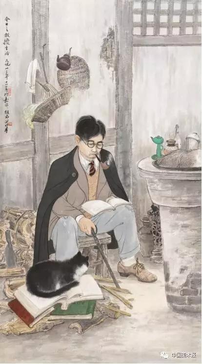 今日之教授生活 关山月  中国画  115.8×64cm    关山月美术馆藏