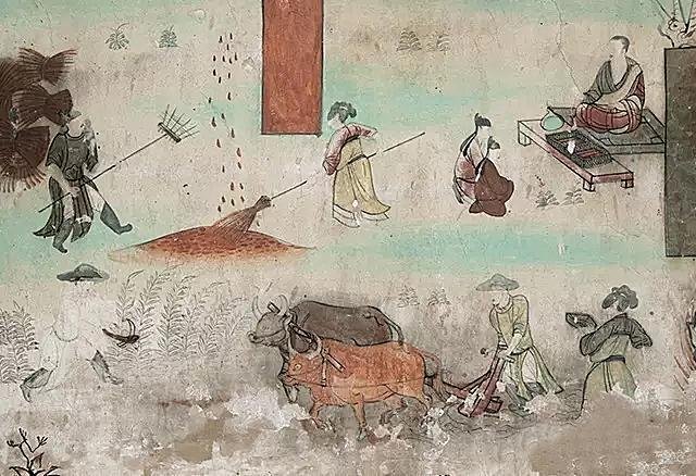 敦煌壁画的农作图:躬耕于南亩,粒粒在心田
