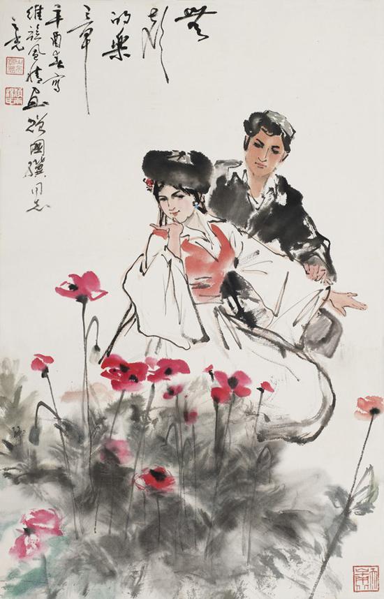 杨之光 双人舞 立轴 设色纸本 68×43cm