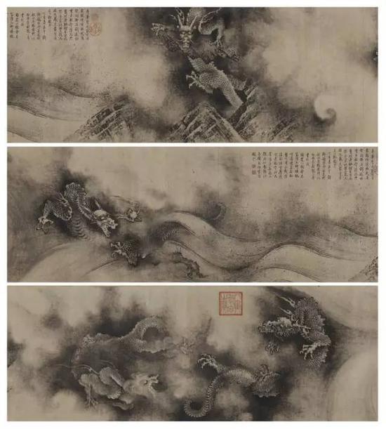 《九龙图卷》(局部),南宋淳祐四年(1244年),陈容