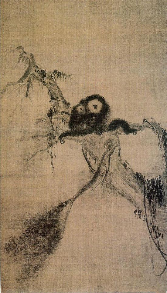 牧溪《松猿图》绢本 日本东京大德寺藏