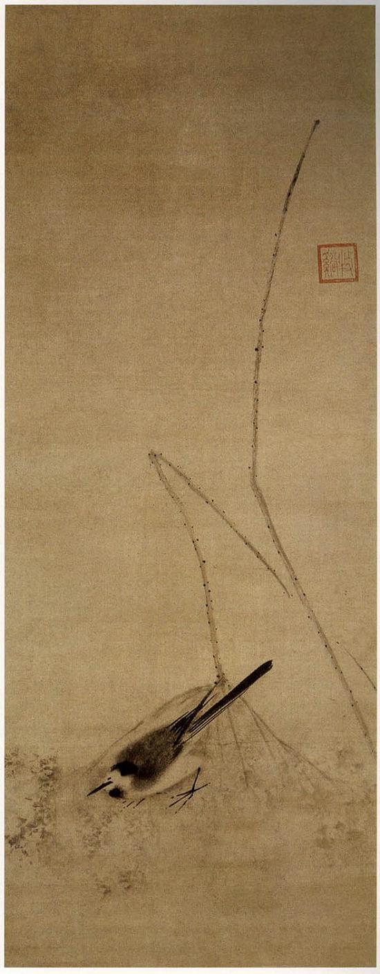牧溪《鸟荷图》