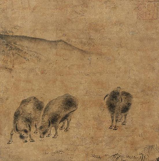牧溪《三牛图》日本私人美术馆藏