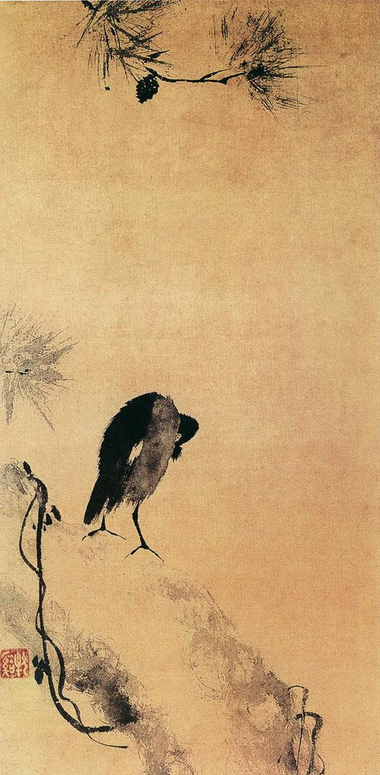 牧溪《叭叭鸟图》纸本 日本国立美术馆藏