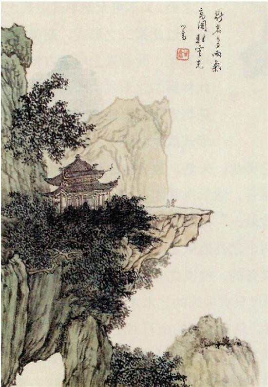 溥儒断岩高阁图中国画