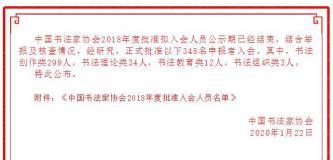 中国书法家协会2018年度批准入会人员名单
